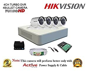 Active Feel Free Life Hikvision DS-7104HGHI-F1 720P (1MP) 4CH Turbo HD DVR, DS-2CE16COT-IRP Bullet Camera, 1TB HDD, Copper Cable,Power Supply Full Kit