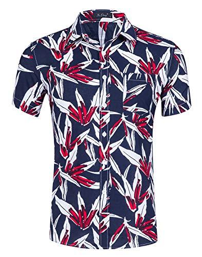 Idgreatim Hawaiianische Herren Hemd von Hip Hop 90er Jahre Pappbecher gedruckt Kurzarm Button Down Hemden Shirt (Für Männer 90er Jahre Mode)