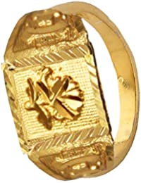 Menjewell Fashion Gold Plated Antique Flower Design Ring
