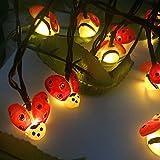 Solar Ladybird Light, EONHUAYU Cuerda de Mariquita Solar Luz de Cadena de Escarabajo de luz 5M 20LED Insecto Solar Luz de Secuencia de Exterior Impermeable para Fiesta de Verano deJardín Exterior Decoración de Navidad de la Boda (Blanco Cálido)