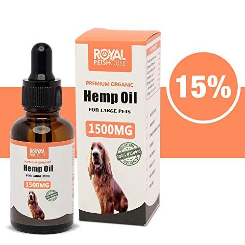 RoyalPetsHouse 15% Hanföl für Hunde & große Haustiere 1500MG 30ml für Trennungsangst | Beruhigend | Nahrungsergänzung für Gelenk & Hüften | Schmerz | Schlaf | Behandelt Haut&Fell