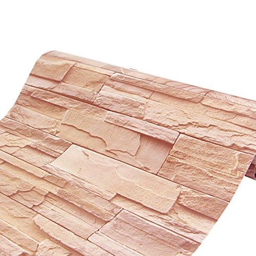 Zhzhco Feuchtigkeitsbeständige Selbstklebende Retro-Faux Stein Wand Tapezieren Aufkleber 45 Cm Breit * 10 M Lang,D