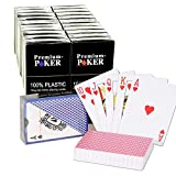 24 X Premium Poker Karten Pokerkarten 100 % Plastik Spielkarten Black Jack Skat - kleiner Index