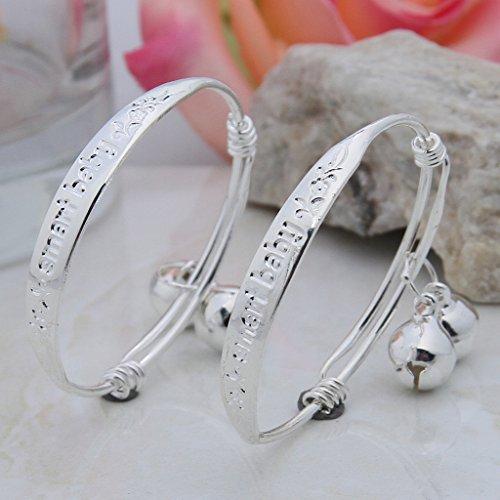 Bigood 1 Pair Baby Boys And Girls Silver Two bells Adjustable Bangle Bracelet Jewelry lxIpIqdfE