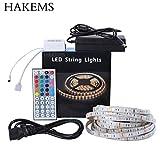 Hakems(TM) Led Strip Lights Kit, 5M Waterproof 5050 SMD RGB LED 44 Key Remote Controller Flexible Strip Colour Changing Lights 300 leds strip Kit For Lightning or Decoration