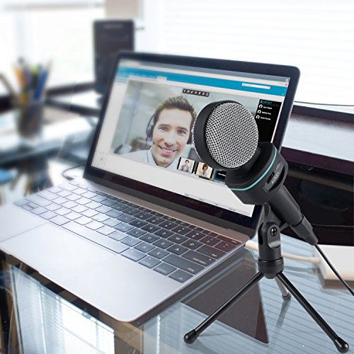 Aukey condensador Micrófono con trípode de mesa 3.5mm kinke para ordenadores de sobremesa, portátiles, smartphones, tabletas