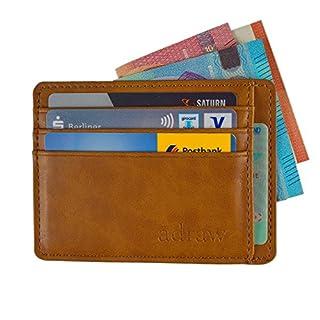 adraw Kreditkartenetui aus Leder für bis zu 8 Karten mit Geldscheinfach | RFID Schutz | Schmaler Kartenhalter Kartenetui Herren Brieftasche | Mini Geldbörse | Portmonee | Portemonnaie | Slim Wallet