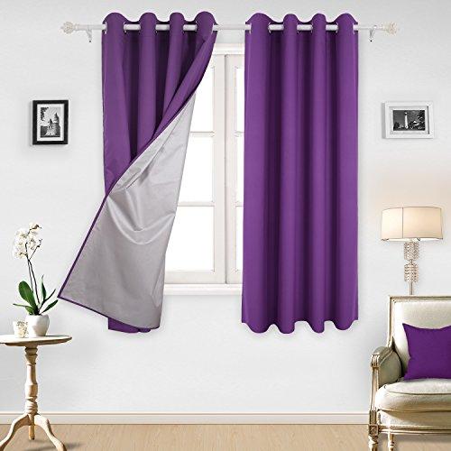Deconovo Wasserabweisend Ösenvorhang mit silberfarbene Thermogardinen 175x140 cm Lila 2er set (Vorhang Schals Lila)