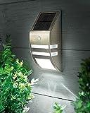Tourwell Vertrieb Wand Leuchte Solar Lampe Außenleuchte mit Bewegungsmelder 2 LEDs Edelstahl Glas - Edelstahl Außenbeleuchtung mit Bewegungsmelder und Solar LED