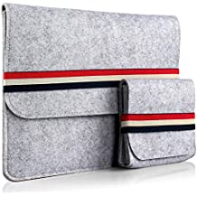 iDoo { Ajuste Universal para el MacBook Air y Pro Retina de 13 pulgadas } Funda Hecha a mano de Fieltro Gris con la Venda Elástico en Colores Nacionales Británicos
