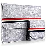 iDOO Filz Schutzhülle / Felt Sleeve Case für MacBook Air / Pro Retina 13 Zoll ohne CD-Laufwerk und Notebook / Laptop Tasche (12,9 -13,3 Zoll, Größe: 340 mm x 250 mm x 8 mm), grau mit Verschlussband
