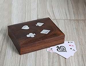 regali di Natale Double Deck carte da gioco scatola di immagazzinaggio titolare fatti a mano con ottone decorativo intarsio