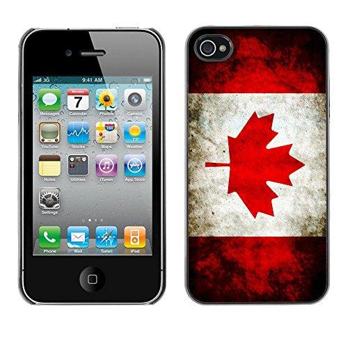 "Graphic4You Quebec ""La Belle Province"" Flagge Design Harte Hülle Case Tasche Schutzhülle für Apple iPhone 4 und 4S Design #5"