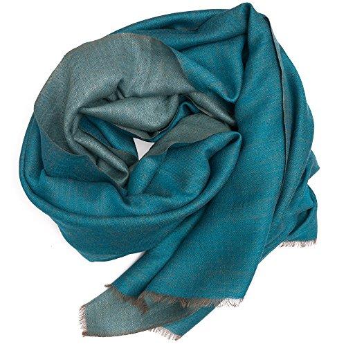 Elegante sciarpa di lana dal Punjab, India, bicolore, 190x70 cm, azzurro