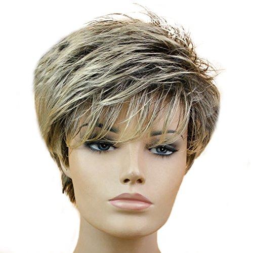 Parrucca di capelli, da donna, parrucca sintetica con ombreggiature, oro chiaro, capelli corti, lisci, fantastica parrucca sintetica, naturale come capelli veri