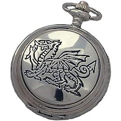 A E Williams 4833 Dragon mens quartz pocket watch with chain