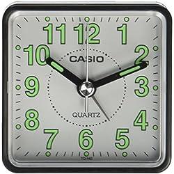 Casio TQ-140-7EF Réveil Quartz Analogique Alarme, Blanc/Vert