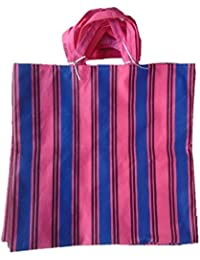 """PM Linnings Non Woven Shopping Bag (SIZE: 15"""" X 15""""-Inches) Pink & Blue - 24 Pcs."""