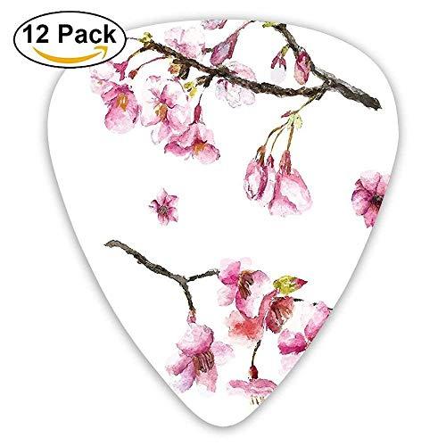 Cherry Blossom Sakura Branch Spring Fruit Tree Flowers Hand Drawn Style Guitar Picks 12/Pack