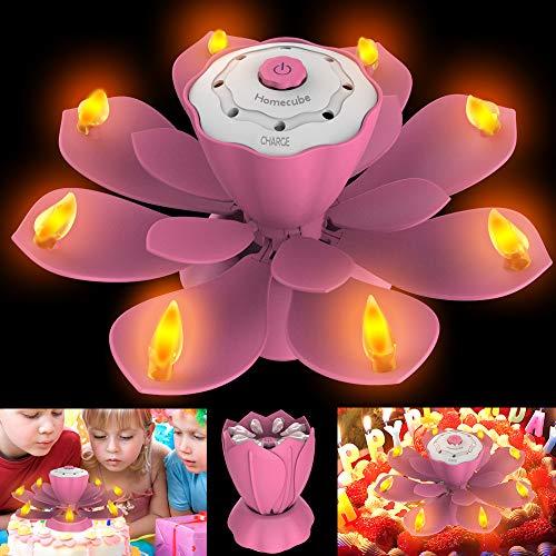 Homecube LED Geburtstagskerzen, Geburtstag Musikkerze 3 Einstellbare Blitzmodi Drehbare Kerzen Blühende Lotusblume Licht mit für Geburtstagsparty,Weihnachtsbeleuchtung Dekoration(Rosa)