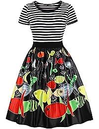 46e9017ccd19da Styledress Damen Kleider Elegant Weihnachten Karneval Festlich Vintage  Fisch Drucken Spitzenkleid Cocktailkleid…