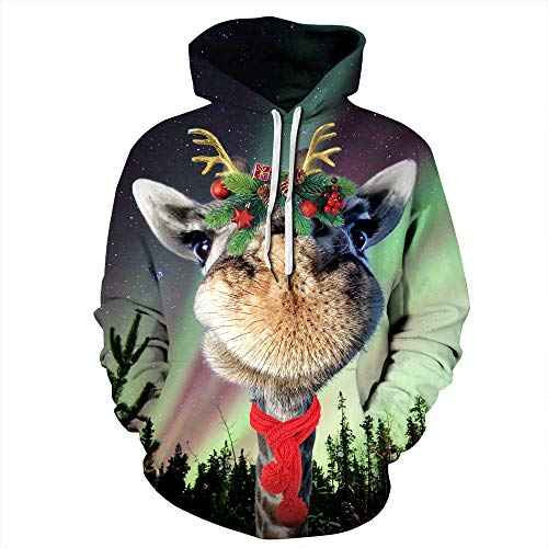 ZFQQ 3D Kapuzenpullover Sweatshirt Digitaldruck Liebhaber Langarm-Kapuzenpullover Flut -