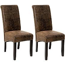 TecTake 2x Silla de comedor cocina salon oficina altura 105cm marrón óptica antiguos gamuza vistazo