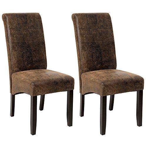 Tectake set 2x design sedia per sala cucina da pranzo sedie altezza 106 cm - disponibile in diversi colori - (scamosciata look)
