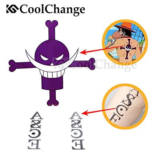 Rückseite Logo One Piece (CoolChange One Piece temporärer Tattoo Aufkleber Bogen für Puma D. Ace)