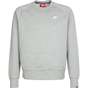 Nike Aw77 Flc Crew Pull pour homme, Gris / Blanco (Dk Grey Heather/Dk Grey Heather/White), XXXL