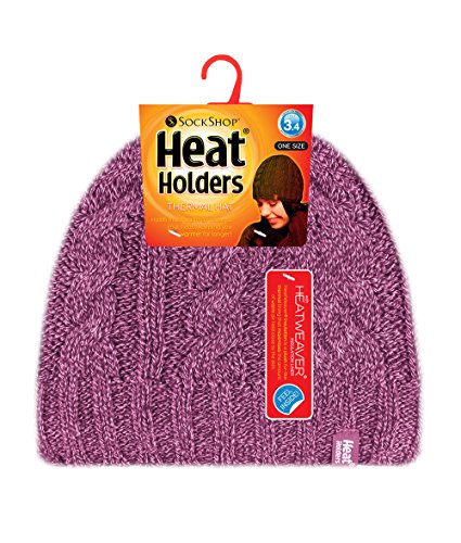 Heat Holders - Women's Thermal Fleece Lined Cable Knit Winter Hat 3.4 tog - One Size