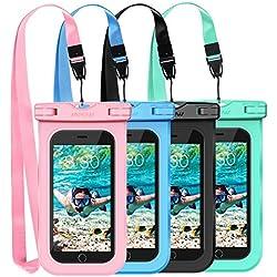 Mpow Funda Móvil Impermeable, Bolsa Estanca,Bolsa de Teléfono Móvil Seca para iPhone XS,XS MAX,X, 8, 8 Plus,7/7 Plus, 6 / 6s Plus, SE 5S 5C,Google Pixel, LG G6, Huawei P9/P9,P20/P20 Lite/P10/P10, BQ Aquaris,Sony, Motorola, Galaxy S9/S9 Plus/S8/S8+/S7/S7,Edge/S6/S6 Edge/Edge+,Monedas, Pasaporte y más(4 Paquetes)