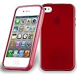 Apple iPhone 4 / iPhone 4S Silikonhülle in ROT von Cadorabo - TPU Schutzhülle für iPhone 4 / iPhone 4S Edelstahloptik gebürstet BRUSHED Design – Handyhülle Bumper Case Backcover in ROT