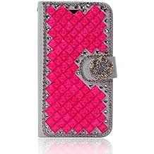 LG L Fino Funda, LG D295 Funda, Lifeturt [ Rose Diamond ] Cubierta de la caja de cuero superior de la carpeta del libro para LG L Fino/D295