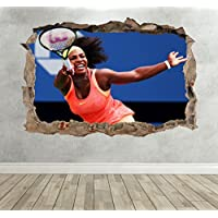 3D Serena Williams Tennis Smashed Breakout Wall Sticker Boys Girls Bedroom - Extra Large Landscape 100cm (w) X 70cm (h) preiswert
