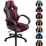 CLP Fauteuil de bureau VETTEL, chaise racing en similicuir/à maille, fauteuil gaming, mécanisme d'inclinaison intégré, hauteur ajustable, fauteuil de chef pivotant, siège relaxant noir/rouge