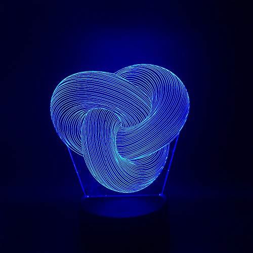 Wangshengchao ,Dimmbare Twist Knoten 3D Led Nachtlicht Home Schlafzimmer Party Büro Cafe Bar Decor Schreibtisch Tischlampe Geschenke,Controller 7 Farbe -