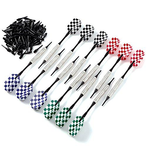 Hamimelon Soft Dartpfeile, 12 Darts Pfeile (ca. 15g) + 100 Spitzen für Elektronische Dartscheibe mit Kunststoff Dart Spitzen, Messing Beschichtung Stahl Fässer und 4 Arten Dart Flights