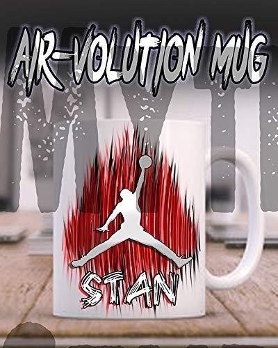 onalisierte Airbrushed Basketball Keramik-Kaffeetasse Weiß ()