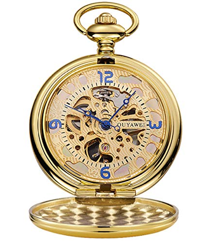 Große Taschenuhr Flip-Taschenuhr Mechanische Taschenuhr Geschnitzte Taschenuhr Hollow-Taschenuhr - Goldring Goldgesicht
