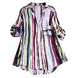 SoonerQuicker Mantel Damen Herbst Elegant Frauen Striped Printing Short Kurzarm Button T Shirts verlieren Tanktops Rot XXXXXL