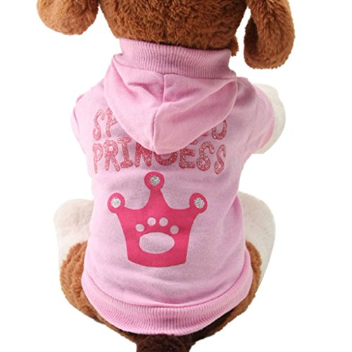 Holloween Niedliche Mädchen Kostüme (Haustier Kleidung,WINWINTOM Rosa Haustier-Hundekleidung Kronenmuster-Welpen-Mantel-Kapuzen-Baumwolle)