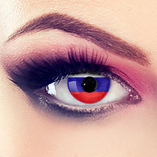 Taffstyle® Farbige Linsen Fanartikel Kontaktlinsen Fussball Weltmeisterschaft 2014 WM & EM Länder Style Jahreslinsen - Russland