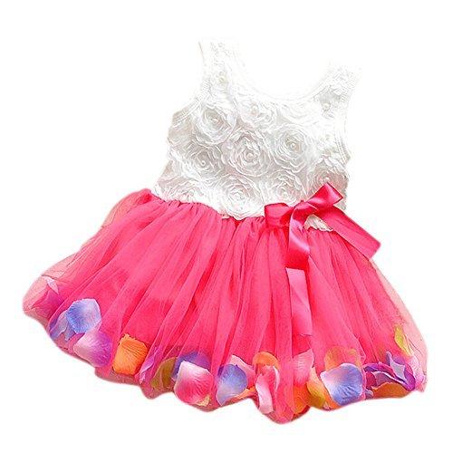 TOOGOO(R) Baby Girl Toddler Occasion Party Wedding Birthday Flower Summer Kids Dress rose red 110