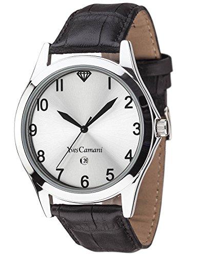 Yves Camani Allier - Reloj de cuarzo para hombres, con correa de cuero de color negro, esfera plateada