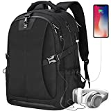Laptop Backpack 17.3 Inch Anti-theft Waterproof Travel Rucksack USB Charging Port Business Work College School Large Compartment Outdoor Gaming Computer Bag for Men Women Black