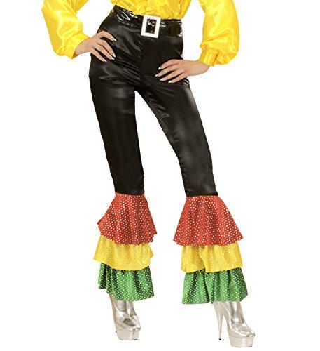 Rio Samba Brasil Spanierin Tänzerin Salsa schwarze Hose mit buntem Schlag (S) (Karneval In Rio Tänzerinnen Kostüme)