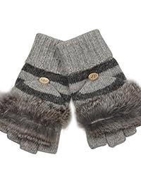 ELMA Damen-Winterhandschuhe aus Wolle, umklappbare Kappe mit Besatz aus Kaninchenfell, wandelbar vom Fäustling zum fingerlosen Handschuh