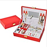 SHIZHESHOP-Caja de almacenaje de Caja de almacenaje de Organizador de Joyas de Charpie de Doble Capa con la Cerradura de Bijoux de Piel Reloj del Anillo de Collar de Collar para la Caja de niña