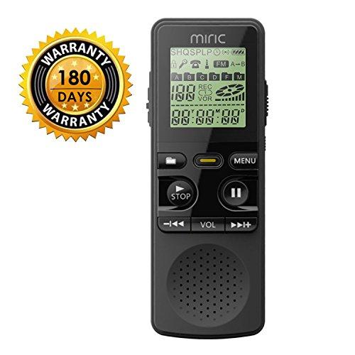 Miric Audio Recorder, Voice Recorder Diktiergerät Digitale 1536kbps Diktiergerät mini 8GB Aufnahmegerät mini Digitalrecorder im Büro, Konferenzen, Seminar, Vorlesungen, Vorträge, Interviews usw. (Büro-hintergrundgeräusche)